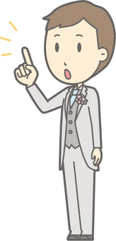 Groom Clothes - finger-pointing diagonal left - whole body