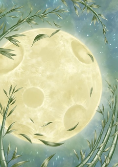 Full moon and bamboo background
