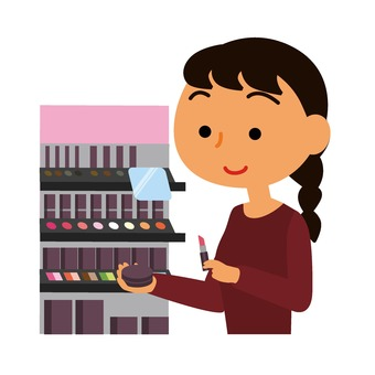 Woman taking cosmetics in her hand