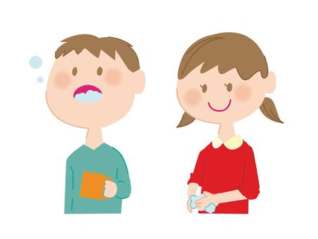 Children gargling handwash