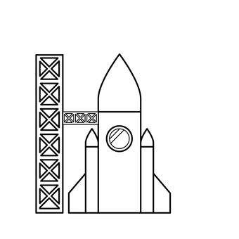 Rocket launcher black and white coloring page