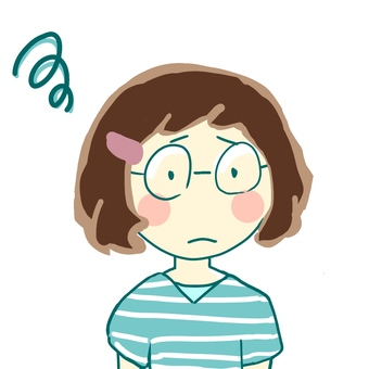 어려움을 겪고있는 안경 여성
