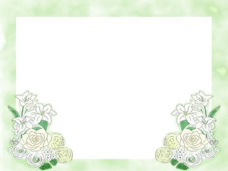 White flower bouquet frame