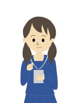 Female student doing smartphone operation