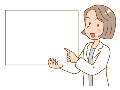 Female doctor with board