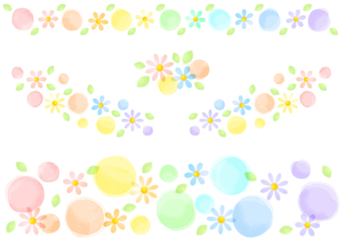Colorful dot and flower decoration etc