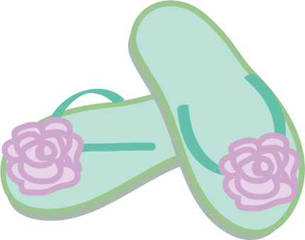 Beach sandals flower green