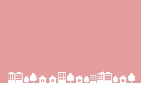 街 街並み シルエット ピンク フレーム