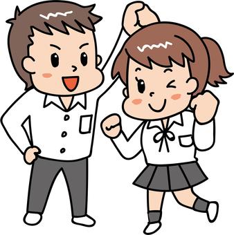 元気な男女/学生3