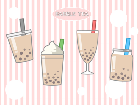 Tapioca milk tea various vessels