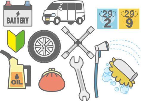 Automotive maintenance illustration set