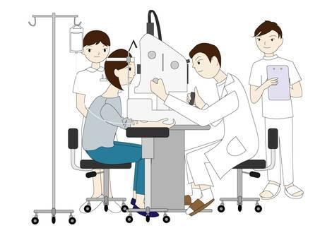 Fluorescence fundus angiography examination