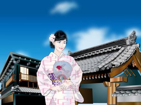 Yukata women and shrines