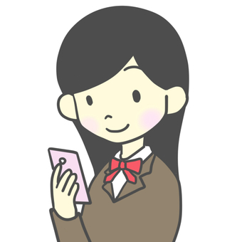 Female student looking at smartphone