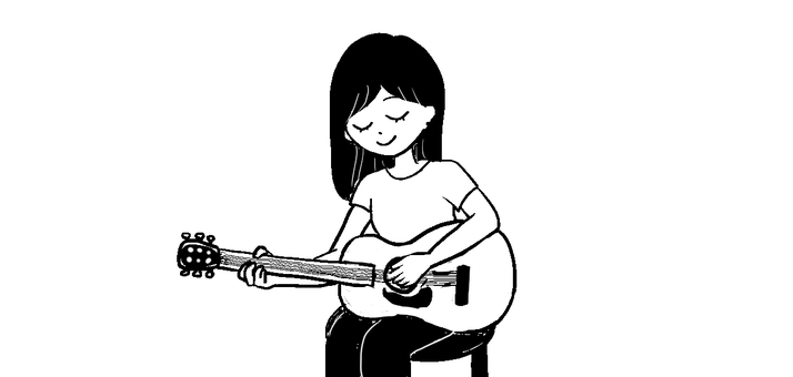 Women playing the guitar Black and white