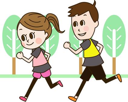 공원에서 달리기를하는 부부