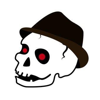 Skull wearing a hat