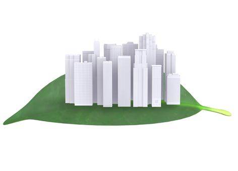 나뭇잎과 빌딩