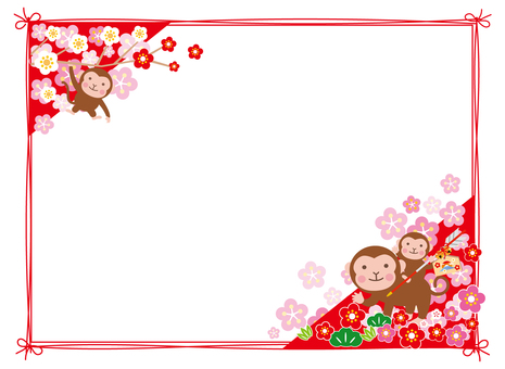 Pear and flower frame with monkey parent and child