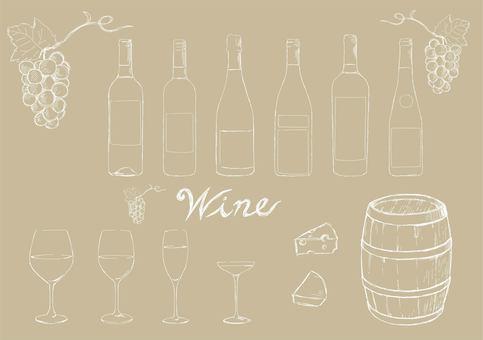Hand drawn wine white