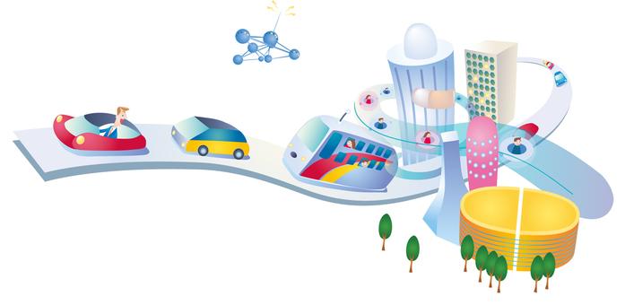 미래의 도시 도로 거리