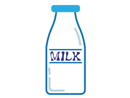 Simple blue line milk bottle