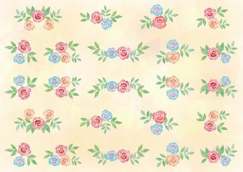 Rose pattern _ pastel_ yellow background