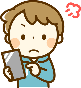 An angry boy with a smartphone