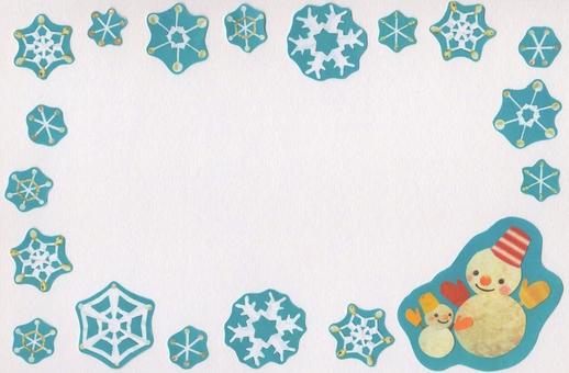 Snowman and snowflake crystal frame