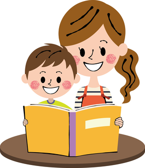 Picture book Orange boy female desk Brown