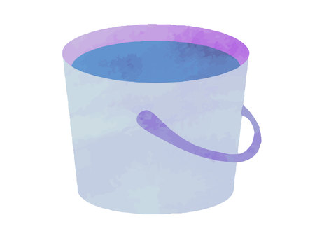 Watercolor style material 14 bucket with water