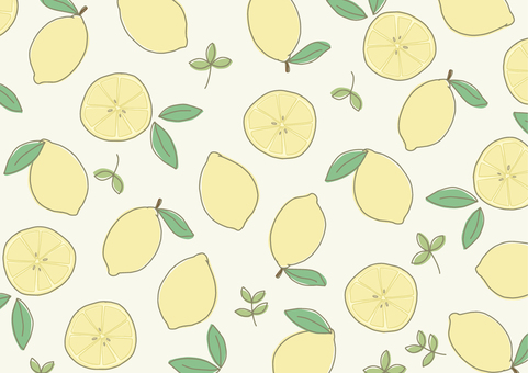 レモン柄の背景素材