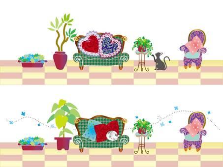 인테리어 _ 소파와 고양이 _ 핑크
