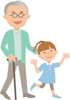 70224. Senior male and grandchild, walk