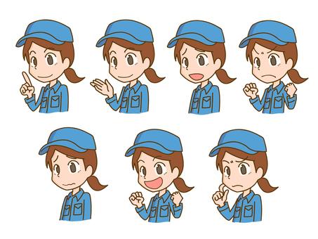 Work clothes female facial expression pose set