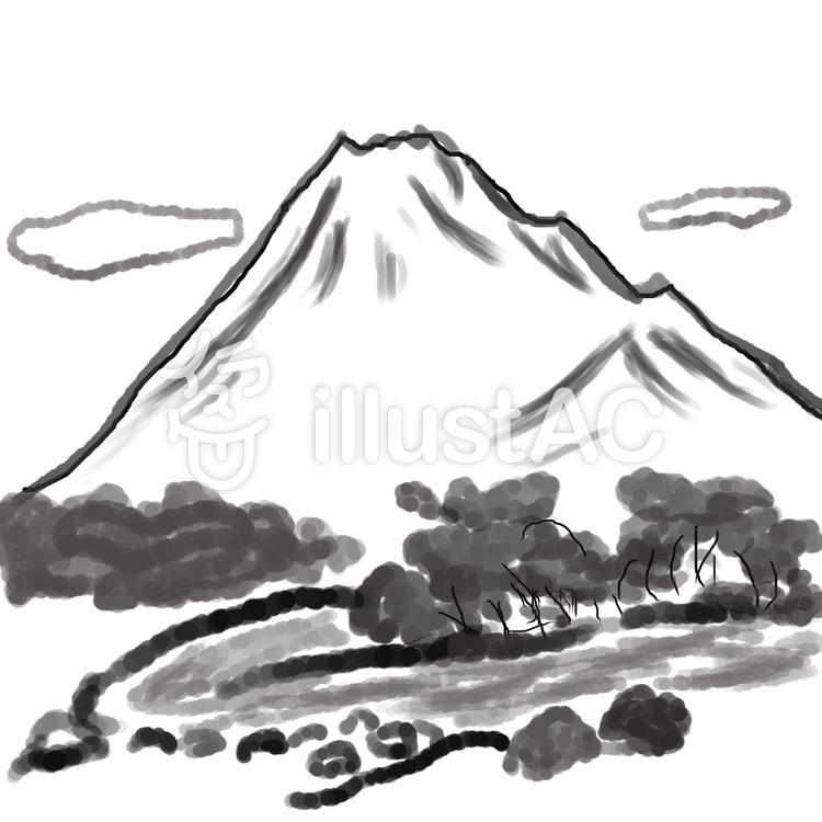 山と川と雲の風景イラスト No 79055無料イラストなら