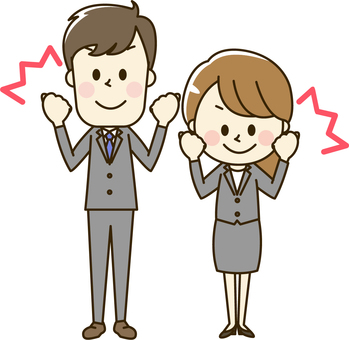 Male and female office worker wearing suit 2-3 guts