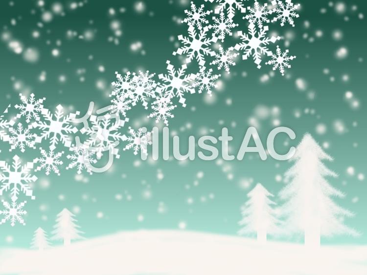 雪降る大地と雪の結晶⑤のイラスト