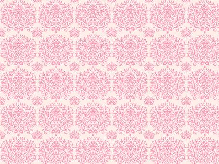ダマスク柄ピンク