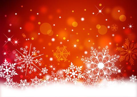 クリスマス_雪の結晶_レッド背景2320