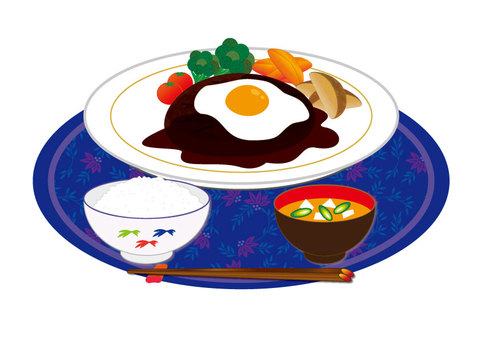 Hamburger (with fried egg / set meal)