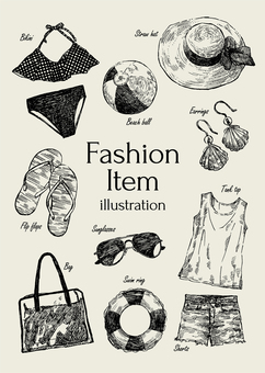 Illustration of summer fashion items