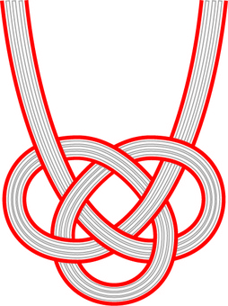 Awaji knot (red and white)