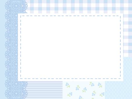 Patchwork frame light blue