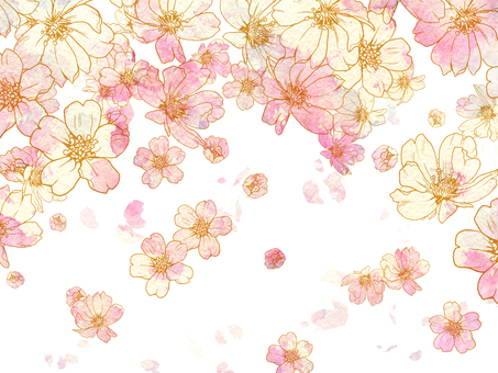 Hand-painted cherry blossom snowstorm / background wallpaper
