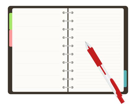 Handbook _ Ballpoint pen red