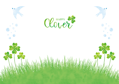 Spring background frame 046 Clover watercolor