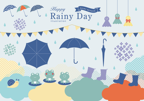 Rainy day illustration material set