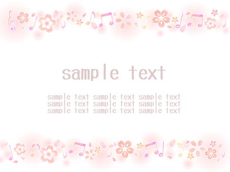 音符と桜の背景04