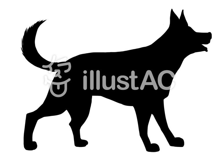 シェパード犬シルエットのイラスト